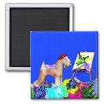 Magnet:  Wheaten Terrier Artist  (Blue Bkgd)