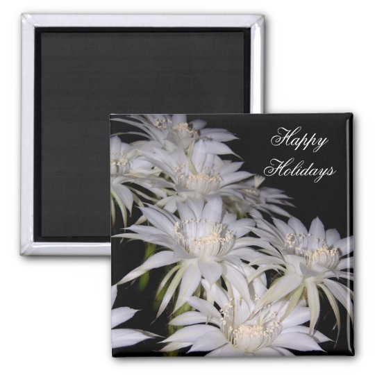 Magnet-White Christmas Cactus Happy Holidays Magnet