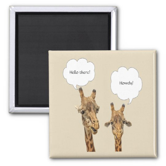 Magnet with 2 Giraffe's with editable thoughts