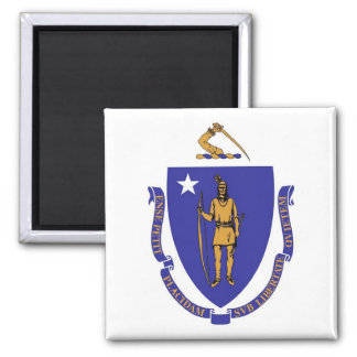 Magnet with Flag of  Massachusetts State - USA