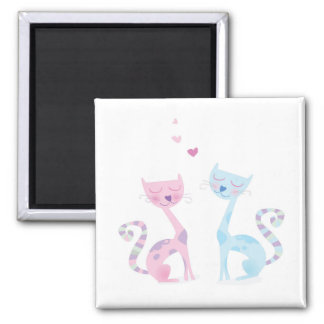 Magnet with Kitten couple / on white
