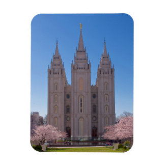 Magnet with Salt Lake Temple pink flowers