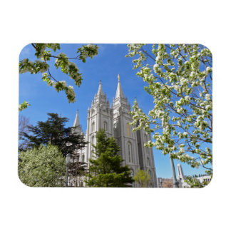 Magnet with SLC Temple with white flowers