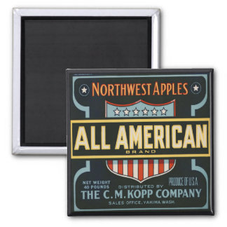 Magnet with Vintage Apple Crate Label Print