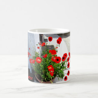 Magnetic cup of flower photograph of red poppy