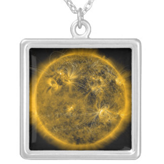 Magnetic field lines on the Sun Silver Plated Necklace