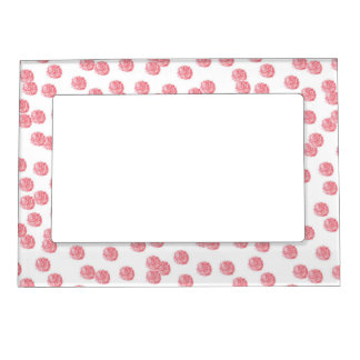 Magnetic frame with red polka dots