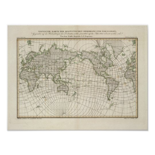 Magnetic Map of the World Poster