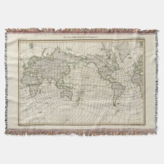 Magnetic Map of the World Throw Blanket