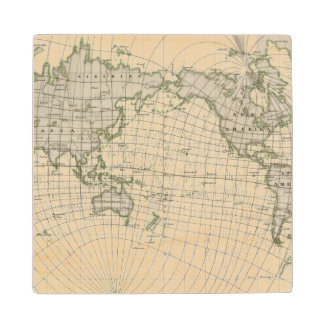 Magnetic Map of the World Wood Coaster