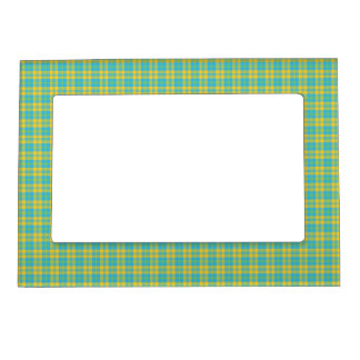 Magnetic Photo Frame: Blue, Yellow, Green Plaid Magnetic Frames