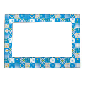 Magnetic Photo Frame: Daisychains, Faux Patchwork Magnetic Frame