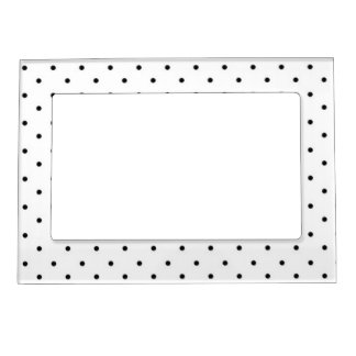 Magnetic Picture Frame/White with Black Polka Dots Photo Frame Magnet
