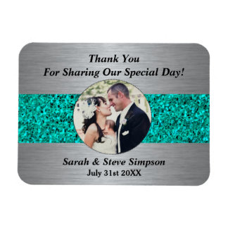 Magnetic Wedding Photograph Teal Thank You Memento Magnet