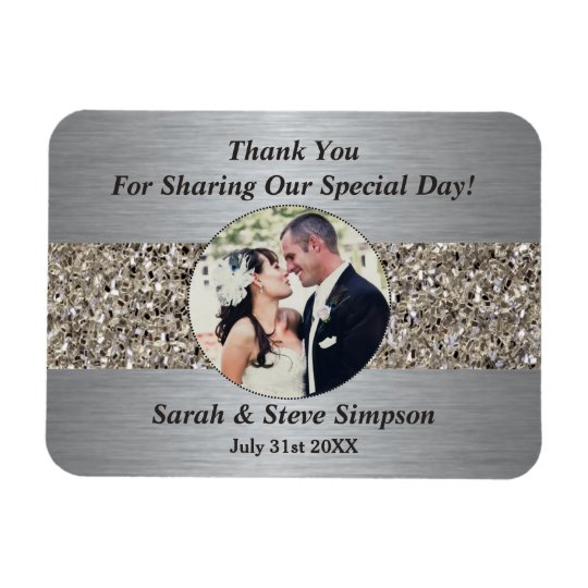 Magnetic Wedding Photograph Thank you Memento Rectangular Photo Magnet
