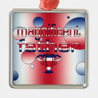 Magnificent Father in Britain Flag Colors Pop Art Ornaments