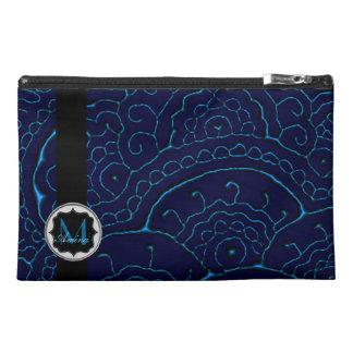 Magnificent Mehndi Mandalas (Blue) Monogram Travel Accessory Bags