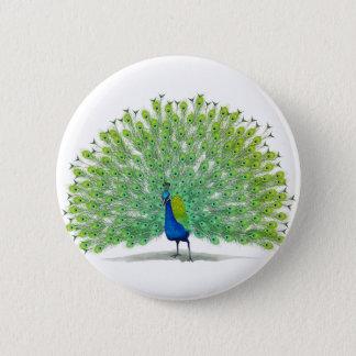 Magnificent Peacock Art 6 Cm Round Badge