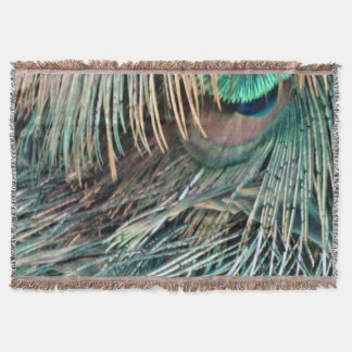 Magnificent Peacock  Feather Throw Blanket