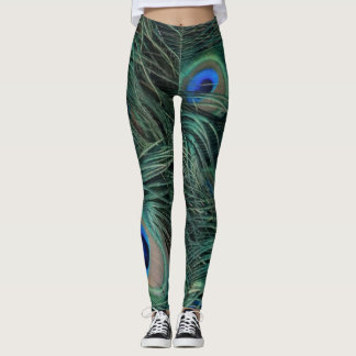 Magnificent Peacock Feathers Leggings