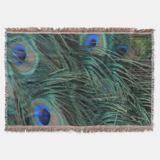 Magnificent Peacock Feathers Throw Blanket
