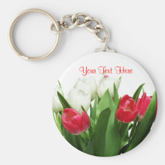 Magnificent Red and White Tulip Design Basic Round Button Key Ring