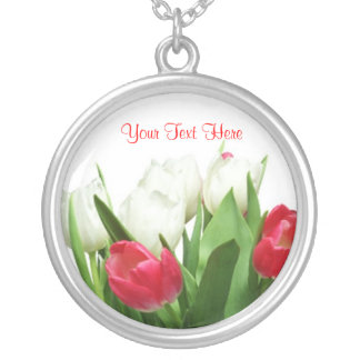 Magnificent Red and White Tulip Design Round Pendant Necklace