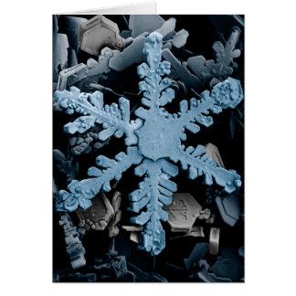 Magnified Hexagonal Dendrite Snowflake Greeting Card