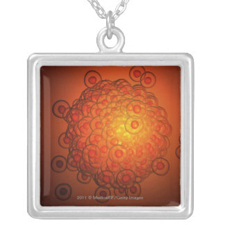 Magnified look at an ovum silver plated necklace
