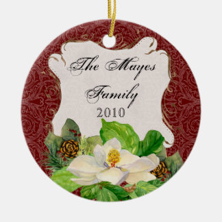 Magnoila n Pine Cone Damask Christmas Ornament