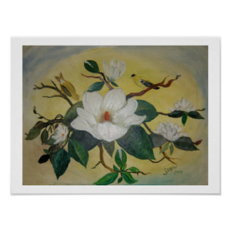 Magnolia and Goldfinches Poster