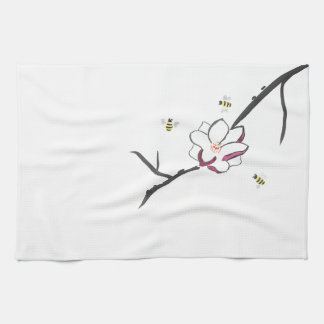 Magnolia and Honey Bees Tea Towel