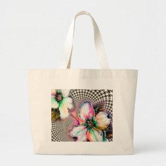 Magnolia and Hounds Tooth Design Jumbo Tote Bag
