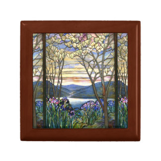 Magnolia and Iris Elegant Stained Glass Design Small Square Gift Box