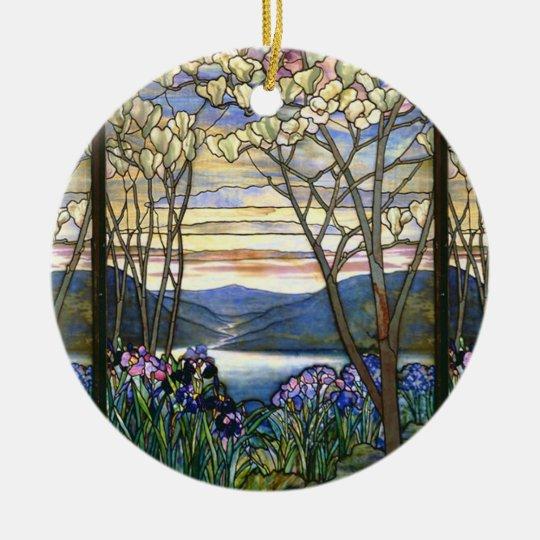 Magnolia and Iris Vintage Window Design Christmas Ornament