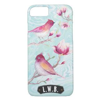 Magnolia & Birds Monogram Pink Blue   Personalized iPhone 7 Case