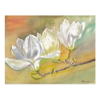 Magnolia Blooming. Watercolor by E.Mashkina. Postcard