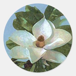 Magnolia Blossom Flower Classic Round Sticker