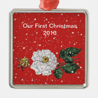 "Magnolia Blossom in Snow, ""Our First Christmas"" Christmas Ornament"