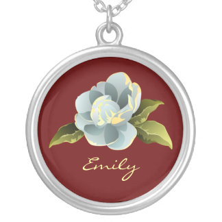 Magnolia Blossom Personalized Silver Plated Necklace