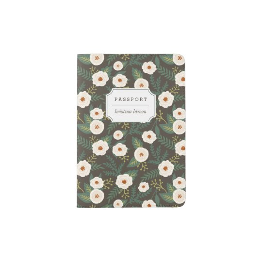 Magnolia Blossoms Floral Personalised Passport Holder