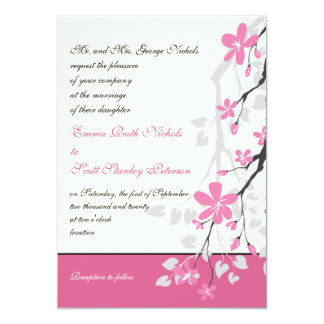 Magnolia branch pink wedding custom invitation