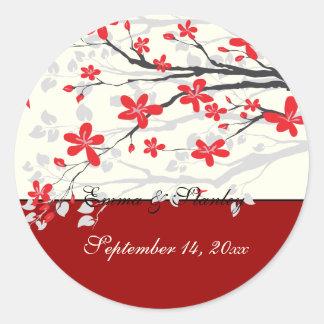 Magnolia branch red wedding Save the Date sticker