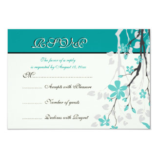 Magnolia branch turquoise wedding RSVP card 9 Cm X 13 Cm Invitation Card