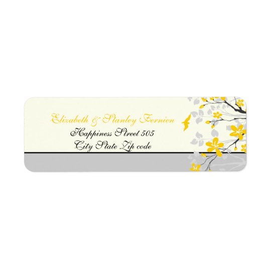 Magnolia branch yellow, grey wedding custom label