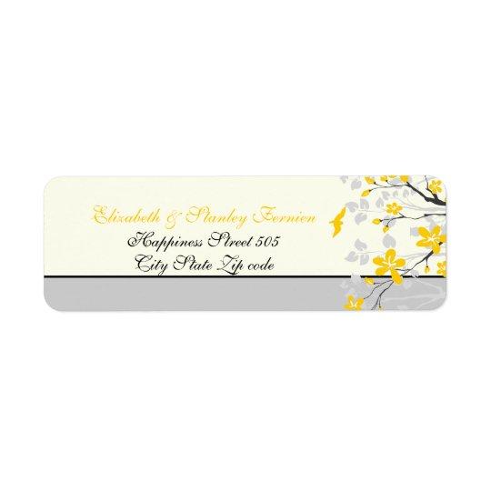 Magnolia branch yellow, grey wedding custom label return address label