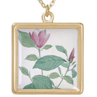 Magnolia discolor, engraved by Legrand (colour lit Gold Plated Necklace