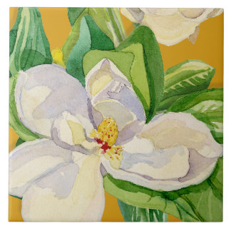 Magnolia Floral Decorative Kitchen Art Tile Design