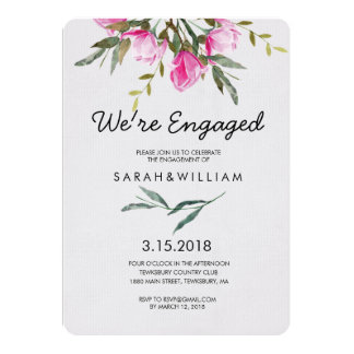 Magnolia Floral Watercolor Engagement Party Card