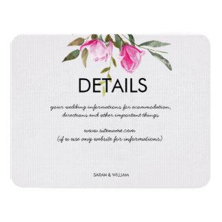 Magnolia Floral Watercolor Wedding Details Card